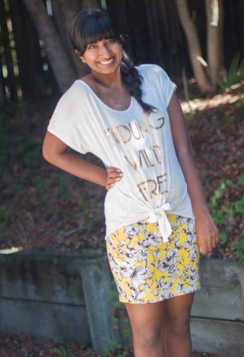 Yellow Skirt + Graphic Tee-2
